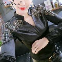 Женская футболка весна осень корейской одежды девушки сексуальные V-образные шеи блестящие алмазы бусины женские топы длинные рукава тонкие тройники 2021 T11903A KL