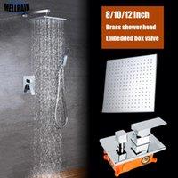 욕실 2 함수 Rastal Shower System Set Brass Square 8 10 12 인치 헤드 크롬 욕조 수도꼭지 임베디드 박스 세트
