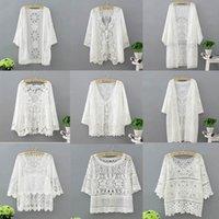 Women Clothing Long Sleeve Lace Shawl Shrug Bolero Jacket Beach Shirts Hollow Cape Elegant Tops Wedding Bridal Summer Women's Blouses &