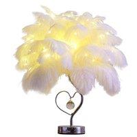 Table Lamps El Guest Room Decoration Feather Light Study Led Strip Desk Lights Birthday Gift Dressing Wedding Lighting