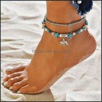 Jewelristy Sandálias descalças de verão Óculos de praia para mulheres Vintage Turquesa Grânulos Cadeia de elefante Starfish Charme Anklet Pulseira Pé Dro