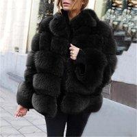Womens Faux Fox Fox Cappotti di Fashion Trend Manica Lunga Cardigan Splicing Pelliccia Giacche Designer Femmina Inverno Casual Slim Velvet Capispalla
