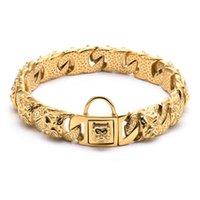 Bully Collar Pitbull Design Dog Dog Pet Gold Catena Gold Personalized Collar Guinzaglio Bulldog Acciaio inox 32mm Collana PET PRODOTTO C0414