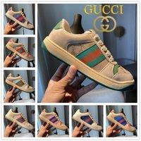 أعلى جودة إيطاليا القذرة الأحذية الجلدية فرز أحذية رياضية الرجال النساء مصمم الأخضر الأحمر شريط قماش ace bi-color المطاط الوحيد الزبدة الكلاسيكية محزن عارضة الأحذية