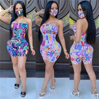 Women's Jumpsuits & Rompers Fashion Women Letter Printed One Piece Bodysuit Off Shoulder Sleeveless Open Back Sexy Short Romper