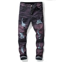 Men's Jeans Trendy Ripped Purple Men Slim Fit 2021 Tight Ankle Motor Biker Pants Punk Rock Hole Color Contrast