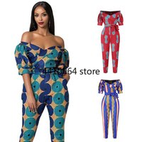 Ethnic Clothing Casual Lantern Sleeve Jumpsuit Printing Africaine Costume Off-Shoulder Rompers Plus Size Africa Clothes For Women Dashiki YS