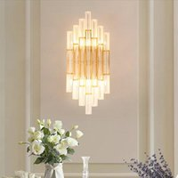 Wall Lamps Nordic Crystal LED Lamp Gold For Bedroom Bedside Living Room Aisle Corridor Stairs Modern Indoor Sconce Lighting
