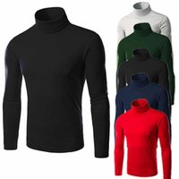 Men's T-Shirts Solid Color Long Sleeve T-shirt Spring Trend Loose White Base Coat High Neck Size M-2XL