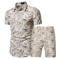Mens Summer Set Hawaiian Floral Shirts + Beach Shorts 2 Pieces Sets Quick Dry Short Sleeve Tracksuit Male Ropa Hombre