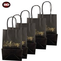 Classical Black Shopping Bag With WELCOME Hot Stamping Durable Kraft Paper Bag Eco Friendly Brown Paper Handbag for Festival Gift Package