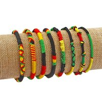 Charm Bracelets 3pcs Handmade Ethnic Rasta Wristband Bracelet Weaved Braid Lucky Friendship Cotton Bangle End With Silk Tassel Jewelry