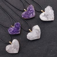 Chokers Reiki Healing Natural Amethysts Stone Heart Pendant Necklace Gold Band Raw White Crystal Charms Collar For Women Jewelry