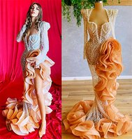 2021 Plus Size Arabic Aso Ebi Gold Luxurious Mermaid Prom Dresses Beaded Crystals Pearls Evening Formal Party Second Reception Gowns Dress ZJ959