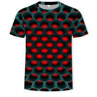 Erkek Casual Kısa Kollu 3D T Shirt erkek Moda Delik Baskılı Grafik T-shirt Gençlik Artı Boyutu Açık Gevşek Tops Boy Yüksek Kalite Hiphop Tees