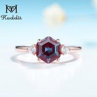 KuoLolit 2ct Lab Wachstum Alexandrite Edelstein Ring für Frauen 925 Sterling Silber 585 Rose Gold Hexagon Luxus Fine Jeelely Cluster Ringe