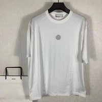 Loose e desgastado nos homens do verão t - shirts Logotipo do bordado da tripulação do pescoço dos pares do pescoço das mangas curtas