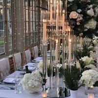 Decorazione del partito lunghi stemmmed moderno trasparente tubo acrilico uragano cristallo portacandele portacandele tavola di nozze centrotavola candel seawawy hhf9548