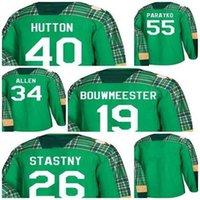 Yeşil St Patricks Günü St. Blues Carter Hutton 55 Colton Parayko 19 Jay Bouwmeester 34 Jake Allen 26 Paul Stastny Boş Hckey Formaları