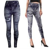 Women's Leggings High Waist Work Out Gray Fashion Style Demin Legging Woman Trendy Jeans Type
