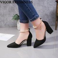Dress Shoes VIGOR FRESHNESS Sandals Women Pumps High Heels Female Spring Summer Women's Autumn String Bead WY352
