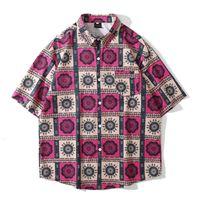 High Street Summer Top Man Women Couple Wear Vintage Plaid Printed Short Sleeve Oversize Shirt Blusas Fashio Hip Hop Clothes