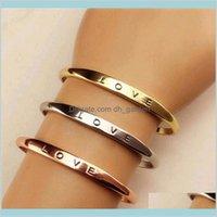 Mode Männer Frauen Schraube Hand Liebe Hochzeit Manschette Armband Gold Silber Einfache Brief Bracelets Geschenke Kllnn Q7Y9C