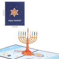 Glückliche Hanukka 3D-Karten, die Chanuka-Menorah-Gruß-Karte feiern Jüdisches Festival des leichten Geschenks faltbarer Kerzenhalter-Party GWA7760