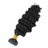 12-28inches onda profunda Cabeça cheia fita de cabelo brasileiro em HeadExtensões Natural Black Color, DHL grátis
