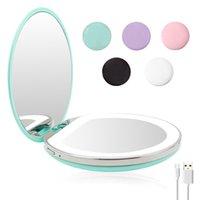 5 cor 3 / 10x ampliação iluminada iluminada espelho luz mini redondo portátil LED compõem espelho detecção usb espelho de maquiagem carregada