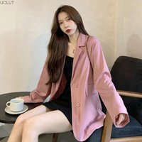 Women's Suits & Blazers Temperament Goddess Fan Pink Long Sleeve Suit Coat Early Autumn 2021 Versatile Loose Medium And Upper Clothes