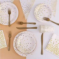 Disposable Dinnerware Pink Blue Rose Gold Polka Dot Stamping Tableware Paper Plate Cup Birthday Party Decoration Kids Adult Wedding 1