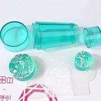 Nail Art Templates 3 Farben Transparente Doppelkopf-Silikon-Stempel-Siegel mit Abdeckung Stamping Kit Stamp Scraper Template DIY
