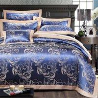 Bedding Sets Home Textile Blue Satin Jacquard Duvet Cover Set King Queen Size Bedclothes Bed Sheet Linen Cotton Pillowcases