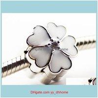 Encantos Achados Componentes JewelryPandora Branco Prímula Clipe Esmalte Flower Charme 925 Sterling Sier Persiças Soltas para Pulseira Fashon