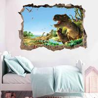 Kunshang 새로운 3D 깨진 벽 공룡 파라다이스 침실 살아있는 어린이 스티커 장식 그림 KS6691