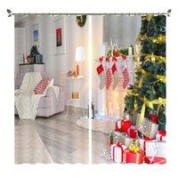 Cortinas cortinas babson decoración navideña de la Casa Blanca Impresión digital 3D DIY Advanced Custom Po