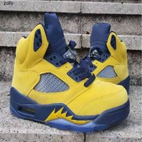 Yüksek Kaliteli Jumpman 5 S SP Michigan 5 Sarı Erkek Basketbol Ayakkabı En Iyi Kalite 5 S Sneakers Sneaker Trainer Ayakkabı