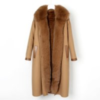 OFTUBY 2021 Winter Women Trench Coat Real Natural Fox Fur Collar Rex Rabbit Fur Liner Detachable Suit Cashmere Warm Outerwear