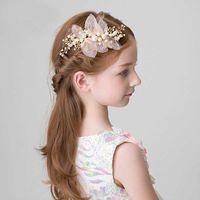 Hecho a mano perla flor pelo peine novia tiara niñas corona cabeza boda novia mujer accesorios de joyería
