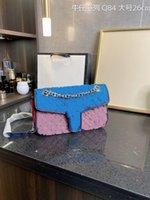 مصمم الفاخرة حقيبة السيدات الأصلية الدنيم متجمد قماش حقيبة يد غسلها الكلاسيكية اللون سلسلة المعادن غرفة مفردة رسول حقائب 26 سنتيمتر حجم مع مربع