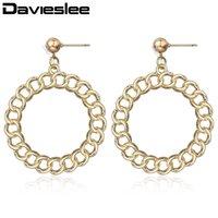 Dangle & Chandelier Davieslee Drop Earrings For Women Original Design Gold Round Circle Dangling 2021 Woman Jewerly Gift LDE06