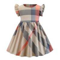Vestido de fiesta diseñador para niños 2021 Dulces Chicas Cuello redondo Mangas voladoras Vestidos plisados Plaid Plaid Cotton Princess Ropa S1011