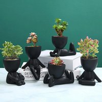 Nordic Creative Ceramics Little People Body Art Flower Pot Desktop Window Crafts Garden Home Decoration Ornaments Accessorie Vases