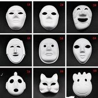 Máscaras de la cara completa de Halloween DIY PULP PULP DE PULPES PULSO CUBIERTADO MÁS MÁSCHA MÁSCARA MÁS MASQUERA BLANCO MASQUERA MÁSCHAS PLANCO MÁSCARA DE PIELIGHT RRD8188