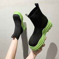 Boots Flat Heel Shoes Stockings Luxury Designer Clogs Platform Round Toe Boots-Women Sock Fashion Ankle Ladies Lolita Summer Me