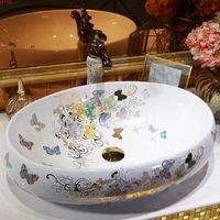 Jingdezhen Bagno Lavandino in ceramica lavabo lavabo in porcellana in porcellana in porcellana modello farfalla ovale lavabo lavandino
