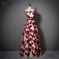 Ethnic Clothing Burgundy Maxi Dress Sexy Tunic Flower Evening Party Slash Neck Bride Wedding Lace Up Quinceanera Banquet Gown