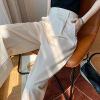 DOHILL Летние Женщины Брюки Шелковый Сатин Сплошной Цвета Длина Разрез Свободные прямые брюки ноги Тонкая широкая женская капризов