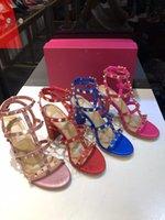 2021 Designer Stud Sandálias Genuíno de Couro Slingback Bombas Senhoras Sexy Verão Salto Alto 6.5cm Fashion Rebites Festa Sapato